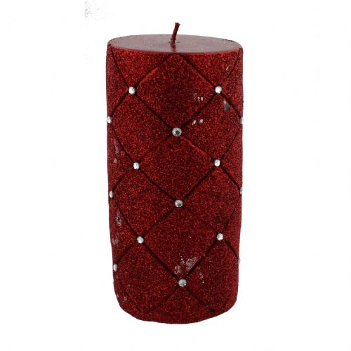 Large Red Pillar Candle With Glitter and Diamante - Red Christmas Candle